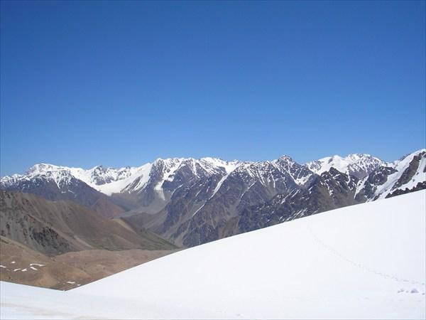 Вид с перевала Туристов на ущелье р. Туристов
