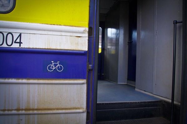 Часть этого вагона оборудована для удобной перевозки велосипедов