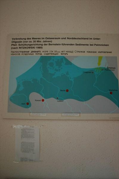 карта ареала распространения пород, содержащих янтарь