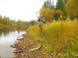 Река Ханда - в этом месте щучье царство.