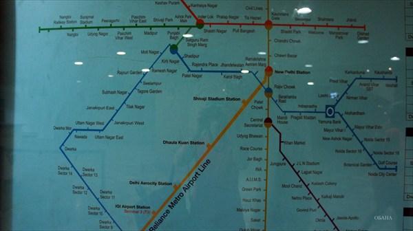 Дели. Карта метро.