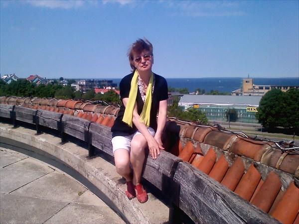 На крыше башни Морских ворот в Таллине.