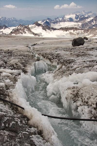 днем под ледником много ручьев