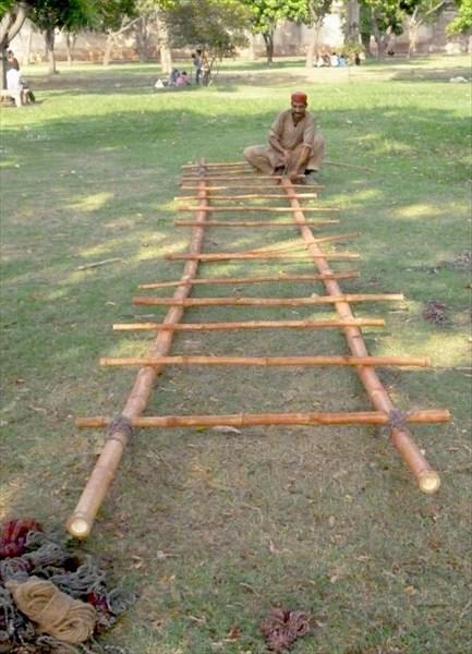 Изготовление лестницы из бамбука