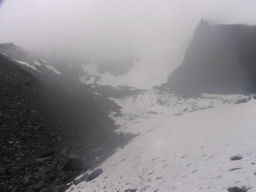 Вид на наш спуск в тумане