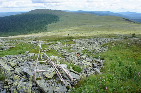 Вид на перевал Дятлова и вершину 905 м.
