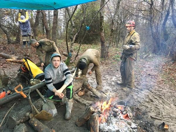 Лагерь бетонировщиков на П-1