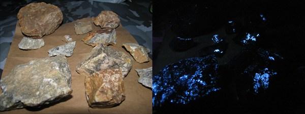 Вольфрамовый минерал - шеелит при УФ-облучении