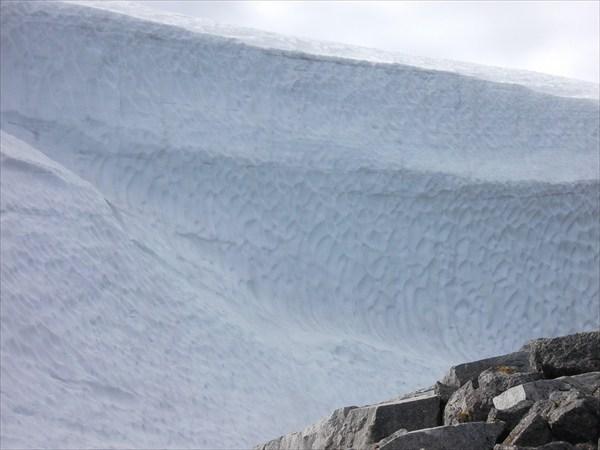 Спуск по ручью к Щучьему озеру забит таким ледником -