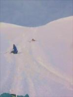 Спуск с перевала Обручева на рюкзаках
