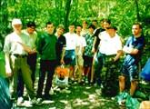 Команда в лагере возле Красной пещеры