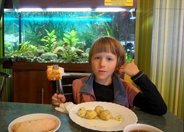 Цивилизованное питание - рыбка в кляре на фоне аквариума