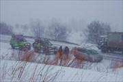 Снегопад в районе Красноярска