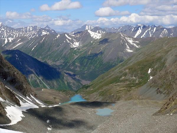 на фото: Панорамный вид с ледника Западный в сторону Кучерлинского ущелья