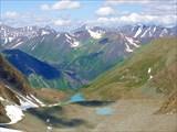 Панорамный вид с ледника Западный в сторону Кучерлинского ущелья