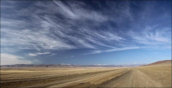 Чуйская степь по дороге к Кокоря. Вдали Южно-Чуйский хребет