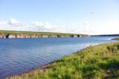 Река Уса в районе плотины Воркутинского водозабора.