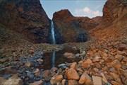 Водопад. Заход солнца.