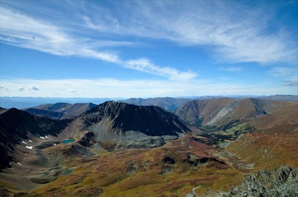 на фото: Вид с горы 2808 на верховья р. Кызыл-Ютук