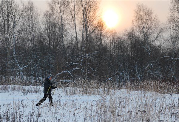 Как здорово бегать на лыжах с утра в хорошую погоду!