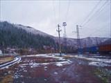 Станция Бискамжа. Снег на сопках.