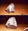 Палатка держится на якоре - закопанном в песок шлеме