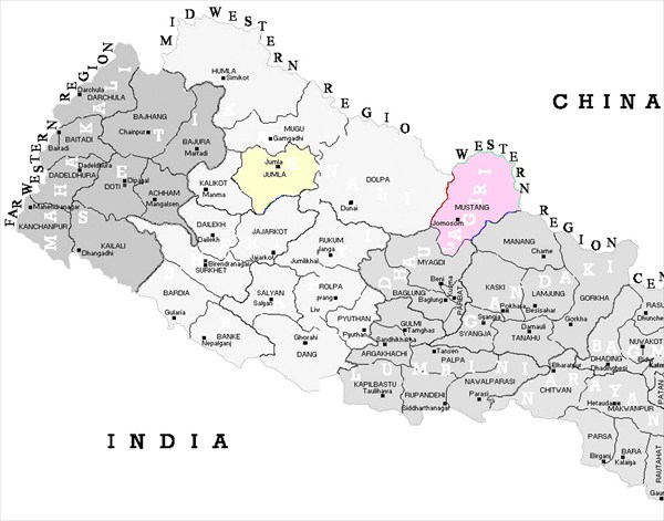 Карта Западного Непала с делением на районы