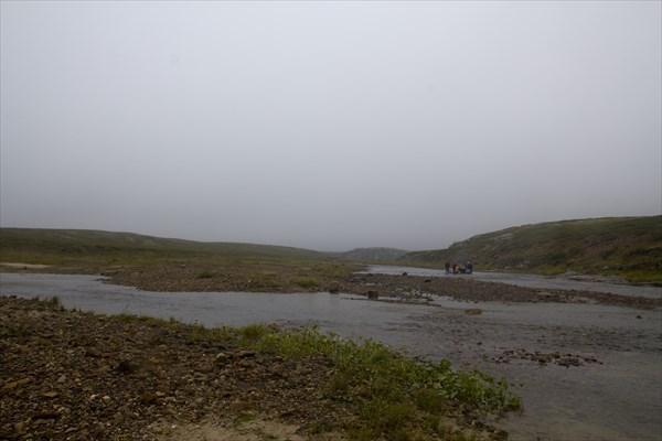 Место впадения р. Белый Кечвож. Моросящий дождь, туман.