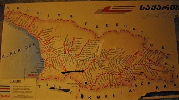 карта грузинских железных дорог