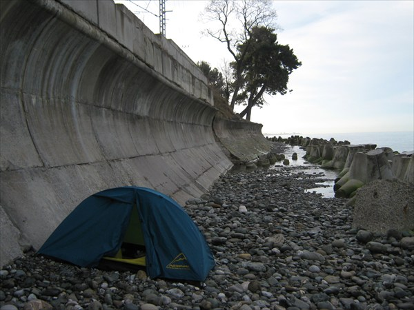 ночлег на берегу, Мацеста