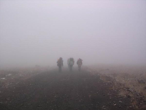уходим вниз в туман