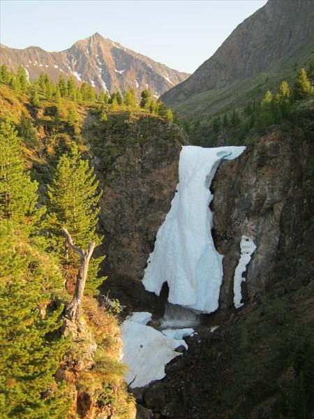 Водопад на месте слияния трех речек образующих Левый Шумак