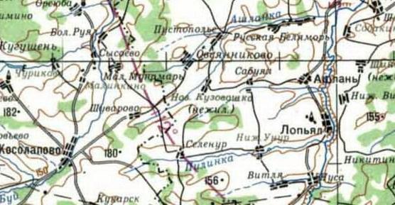 Карта местности с указанием н.п.