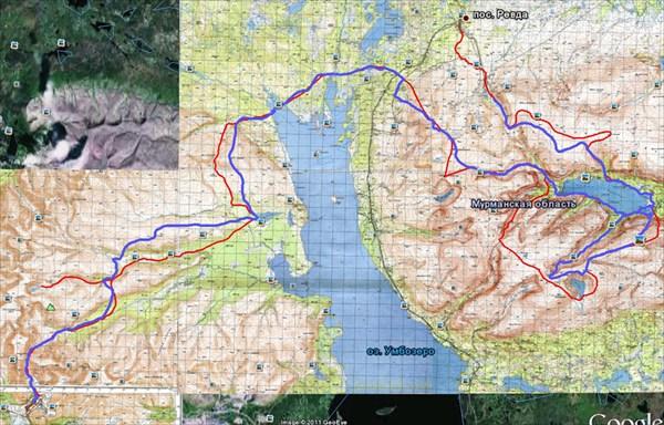 Маршрут. Красным — запланированный, синим — пройденный(по карте)
