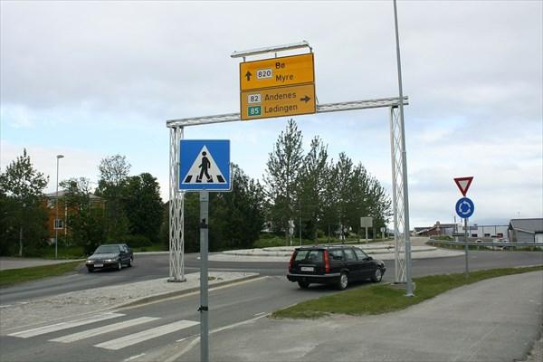 Перекресток у моста в Sortland