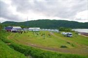 Панорама Tjeldsundbrua Camping. Мы стояли с ближнего края поляны