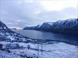 Фьорд Eidsfjorden, вид в полночь