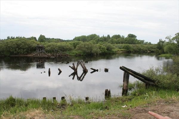 Место стапеля у разрушенного моста узкоколейной ж/д