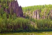 Скалы на ручье перед притоком Уксиктэ