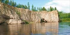 Скальная стена перед притоком Заблудяшка