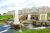 Большой каскад и Большой дворец в Петергофе.