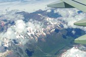 Кавказские горы из иллюминатора самолёта