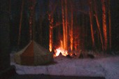 Наша палатка у церкви в последнюю ночь