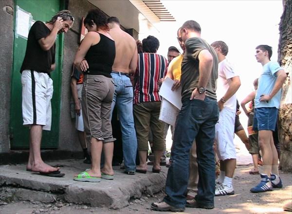 Очередь на КПП в Черкесске