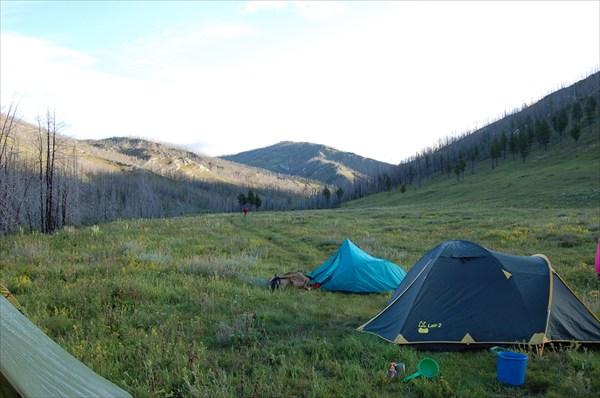 Лагерь, рано утром
