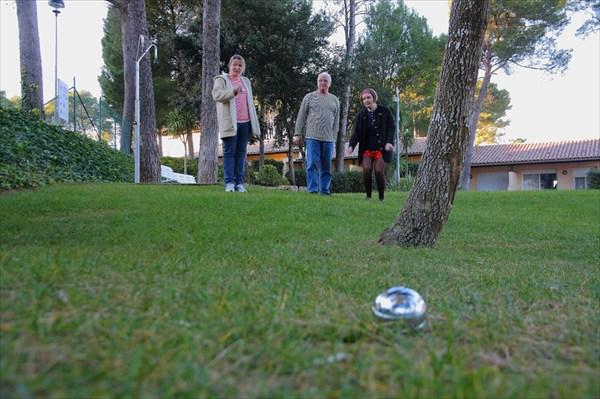 На лужайке играли в шары буле
