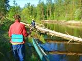 Река Гусь. Май, 2008. Безбашенная байдарка все-таки кильнулась.