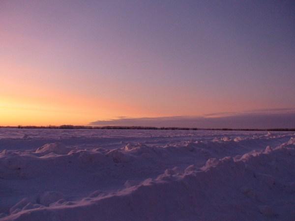 Закат на реке Обь