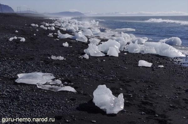 Льдины на чёрном пляже