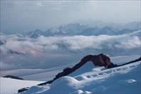 Вид на Кавказ с высоты-гора Эльбрус